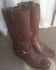 SAN DIEGO boots Size 6.5 brown pull on cowboy western block heel stud detail