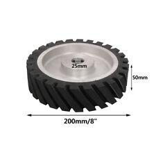 "8 Inch 200mm Rubber Serrated Belt Grinder Wheel Polishing Contact Wheels 1"" Hole"