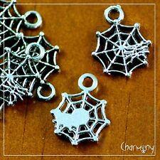 Spider Web charm ~PACK of 10~ Tibetan silver cobweb halloween pendant bead bug