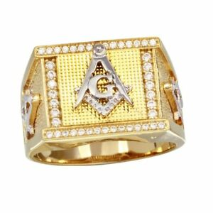 Men's Sterling Silver Yellow Gold Plated CZ Stones Masonic Symbol 2-tone Ring