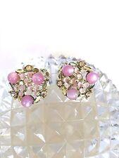 Fab Vtg Lavender Moonglow Thermoset, Rhinestone & Enamel Flower Earrings