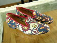 Womens STUBBS & WOOTTON Needlepoint Flowers Blue Red Shoes Loafers 9