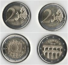 Set of 2 coins: 2 EURO SPAIN Commemorative 2015 &2016 BI-METALLIC UNC from roll!