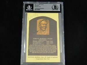 Stachel Paige Signed MLB HOF Plaque Indians Negro League