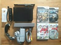 NINTENDO WII BLACK CONSOLE BUNDLE WITH CALL OF DUTY 3 & FIFA TESTED **FAST P&P**
