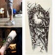 Flash Einmal Temporary Klebe Tattoo Uhr Friedhof Schwarz Körper Body Geschenk