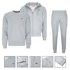 Men's Lacoste Poly Fleece Tracksuit Set Grey Hoodie Sweatshirt Joggers