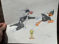 """Virgil Ross Sketch - Sylvester, Daffy Duck And Tweety Bird. Signed 12.5x10.5"""""""