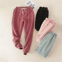 Womens Fleece Lining Sweatpants Warm Thicken Pants Harem Casual Trousers Loosen