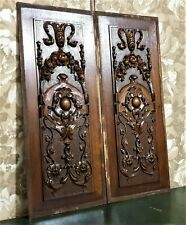 Pair scroll leaf flower wood carving panel Antique french architectural salvage