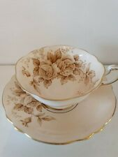 Vintage Paragon Teacup and Saucer Set Cream with Rose Pattern
