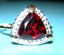 14kt Yellow Gold Garnet Trllion And Diamond Ring New Size 7 Reduced!