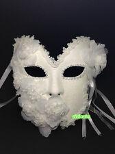 Venetian Princess Full Face White Glitter Masquerade Mask w/Flowers Rhinestones