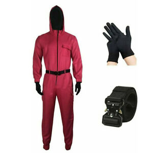 Squid Player Game Cosplay Costume & Circle Triangle Square Mask Jumpsuit Helmet