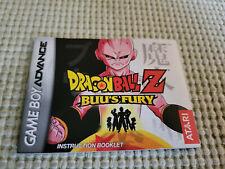Dragon Ball Z: Buu's Fury - Authentic - Nintendo Game Boy Advance - Manual Only!