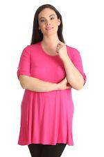 Womens Plain Tunic Top 3/4 Button Sleeve Nouvelle Plus Size Ladies AU 26-28 Coral