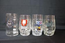 4 German Small Glass Beer Steins, Spaten Munchen, Warteiner, Hacker Pschorr