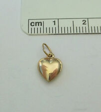 Small 14K Gold plated Sterling Silver 10x8 mm Hollow Puffy Heart Charm