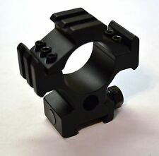 Black Tactical Scope Ring / Mount with Picatinny Tri-Rail for Attachments