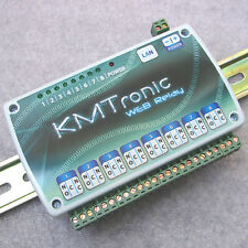 KMTronic LAN Ethernet IP 8 channels Relay board WEB BOX, with DIN rail clips