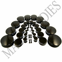"V019 Acrylic Double Flare Black Solid Saddle Ear Plugs Earlets 10G to 2"" inch 50"