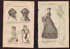 1868 Wood Engravings - Benoiton Cap - Watteau Body-Boy Suit-La Valliere Fichu
