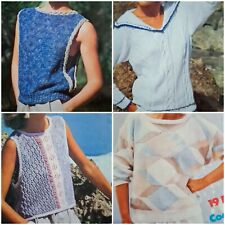 1980s Sailor Twisted Rope Lace Batwing Summer Cotton Patons 263 Knitting Pattern