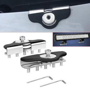2X Car Truck S.S Hood Mount Bracket Clamp For LED Light Bars Clamp Holder Silver