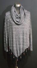 Avani Del Amour Size Medium Gray Long Sleeve Cowl Neck Blouse Fringe Beads Trim