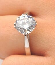 3.00 Ct Round Cut Diamond Engagement Ring 14K Real White Gold Rings Size M N O