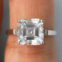 2.85ctw ASSCHER CUT WHITE SAPPHIRE 925 STERLING SILVER ENGAGEMENT RING SIZE 5