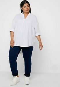 EVANS White Linen Over Head Shirt   UK 30   US 26    EUR 58    (FS106-5)