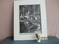 antique comical  etching of cats undressing man circa  1900