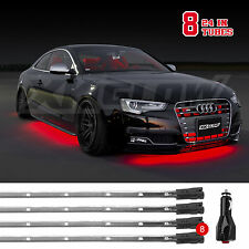 8pc Bright Slim LED Tube Underbody Neon Glow Lights 3 Mode for Chevy Ford - RED