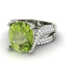 5.00Ct Solitaire with Accents Natural Gemstone Peridot Ring 14K Solid White Gold