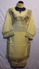 African Women Long Skirt Suit Traditiona dashiki Ethnic Off White Gold Free Size