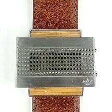Adidas LED Digital Watch ADH1600 Brown Leather Band Retro Vintage *Rare*