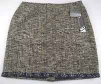 Josephine Chaus Women's Petite Brown 100% Silk Beaded Skirt Sz 14p NWT