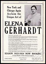 1923 Elena Gerhardt photo opera singing recital tour booking trade print ad
