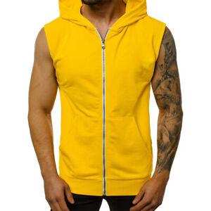 Mens Hooded Casual Tank Top Plain Bodybuilding Muscle Sleeveless Sweatshirt Vest