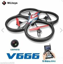 QUADRICOTTERO WL V666 5.8G FPV 6 Axis With HD Camera Monitor, RTF