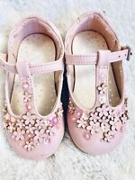 Next Girls 3D Flower Pink Sparkly Sequin T Bone Shoes Size 3 infant 19 EU Baby