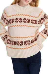 Madewell Fair Isle Mock Neck Pullover Sweater WOMENS M MEDIUM PINK NEW *109