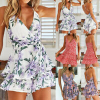 Summer Boho Backless Print Womens Mini Dress Sleeveless Strap Cami Beach Party