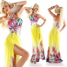 Ladies Clubbing Multicolored Women Summer Beach Maxi Dress Party 6 8 10 S M Multicolor Aqua One Size Regular Material 95 Polyester 5 Spandex