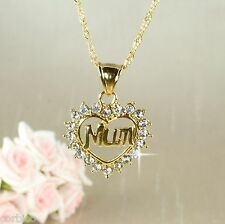 N3 18K Gold Filled Mum Heart Pendant Necklace with Swarovski Crystals Giftboxed
