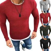 Men Winter Warm Knitted Sweater Slim Fit O Neck Long Sleeve Pullover Jumper Tops