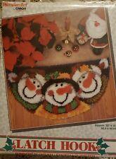 "New listing Wonder Art Caron Latch Hook Kit Merry Men Snowmen 33"" x 16"" half circle Sealed"