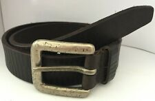 "Brown Real Leather Belt with Pewter Buckle 1 1/4"" WX7"