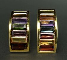 Colorful Curve 18K Yellow Gold Multi-Gemstone Citrine Tourmaline Garnet Earrings